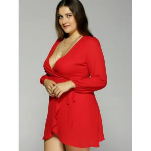 Plus Size Plunging Neck Long Sleeve Dress - RED 2XL