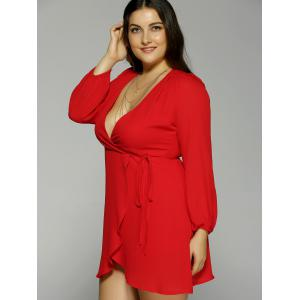 Plus Size Plunging Neck Long Sleeve Dress -