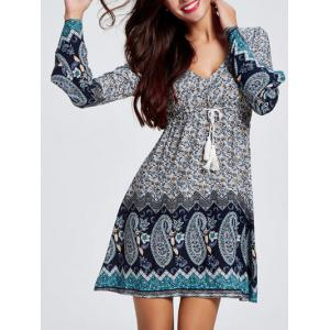 Bell Sleeves Hollow Out Flowers Print Dress -