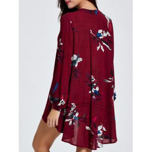 Hollow Out Asymmetric Floral Print Dress -