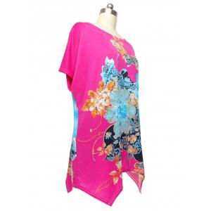 Loose Flower Printed Bat Sleeve T-Shirt - ROSE MADDER ONE SIZE