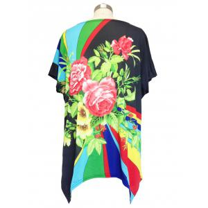 Loose Begonia Printed Bat Sleeve T-Shirt -
