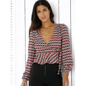 Plunging Neck Geometric Print Ruffles Blouse - COLORMIX 2XL