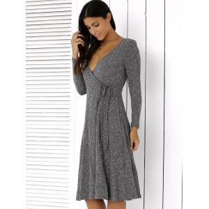 Plunging Neck Tie-Side Long Sleeve Dress -