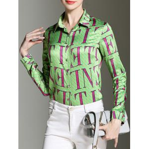 Shirt Collar Letter Print Button Design Satin Shirt -