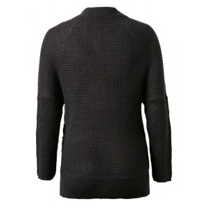 V-Neck Solid Color Knitted Sweater - BLACK ONE SIZE