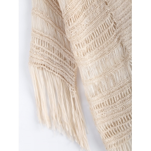 Ethnic Fringe Crochet Translucent Short Cardigan -