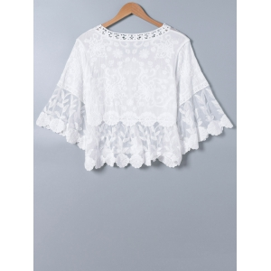 Lace Splicing V Neck Bell Sleeve Blouse -