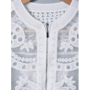Lace Splicing See-Through Embroidery Coat -