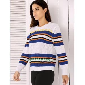 Long Sleeve Stripe Colorful Embroidered Sweater -