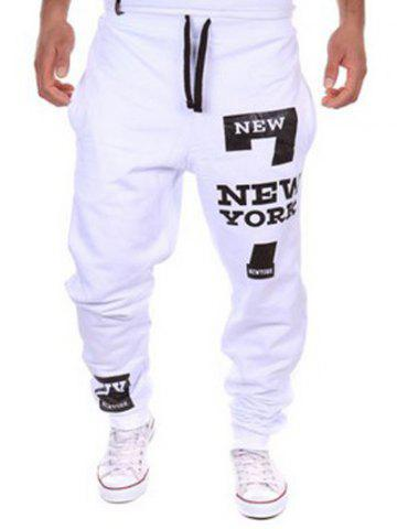 Buy Slimming Trendy Lace-Up Letter Number Print Beam Feet Polyester Men's Sweatpants WHITE 2XL
