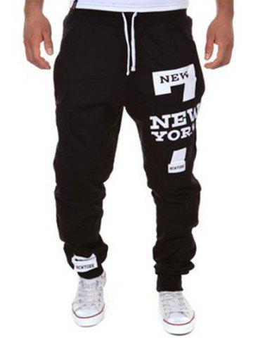 Store Slimming Trendy Lace-Up Letter Number Print Beam Feet Polyester Men's Sweatpants BLACK 2XL
