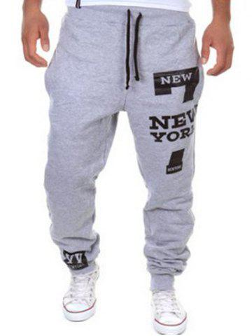 Shop Slimming Trendy Lace-Up Letter Number Print Beam Feet Polyester Men's Sweatpants LIGHT GRAY M