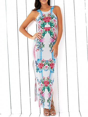 Unique High Slit Floral Pattern Bodycon Maxi Dress