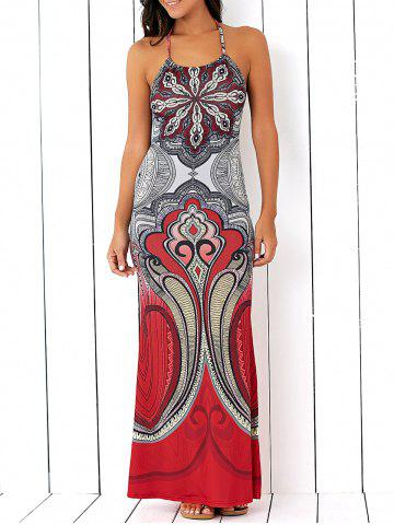 Hot Halterneck Backless Tribal Pattern Dress