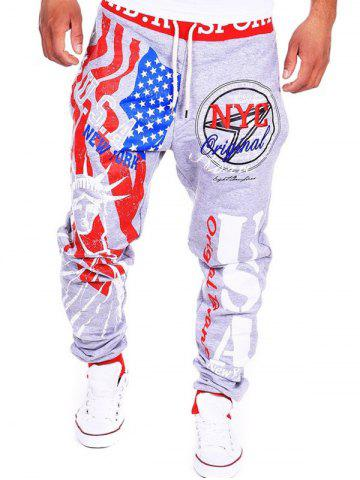 Beam Feet American Flag Statue of Liberty Letters Print Hit Color Lace-Up Men's Loose Fit Sweatpants - LIGHT GRAY XL
