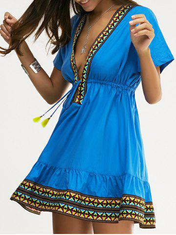 Cheap Ethnic Style Slimming Plunging Neck Low-Cut Dress For Women SAPPHIRE BLUE XL