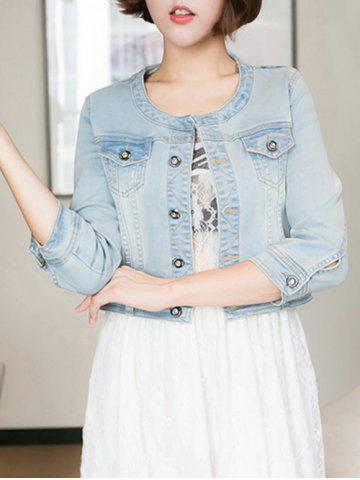 Latest Pocket Design Cropped Thin Jean Jacket
