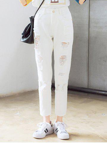 Online Chic Broken Hole Solid Color Pants For Women
