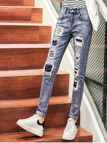 Shop Fashionable Ripped Patchwork Denim Pants For Women