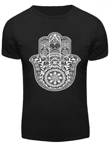 Latest Geometric Floral and Eye Print Round Neck Short Sleeve T-Shirt For Men