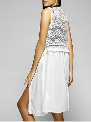 Buy Loose-Fitting Scoop Neck Sleeveless Blouse WHITE L