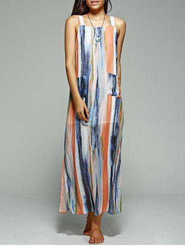 Affordable Striped Maxi Beach Slip Dress - S BLUISH VIOLET Mobile