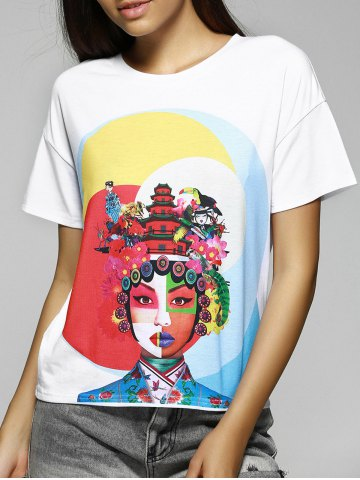 Shop Simple Design Loose-Fitting Scoop Neck Face Print T-Shirt For Women