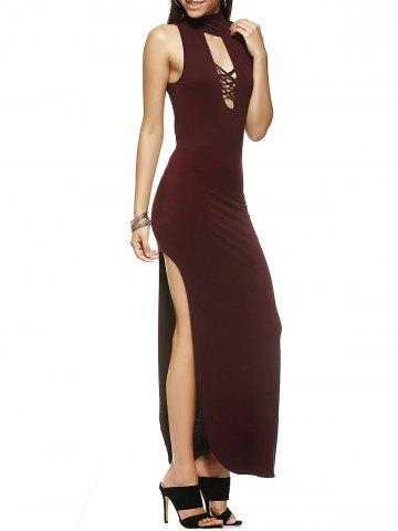 Fancy Fashionable Slimming Turtle Neck Low-Cut Maxi Dress For Women