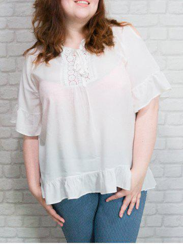 Store Lace-Up Ruffled Lace Spliced Blouse