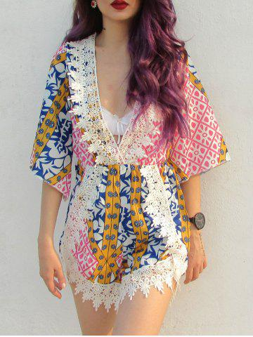 Outfits Plunging Neck Tribal Pattern Laciness Romper