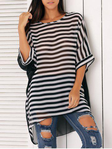 Cheap Loose-Fitting Striped Chiffon Cover-Up