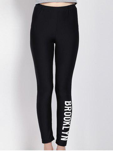 Outfit High Waist Letter Print Black Leggings