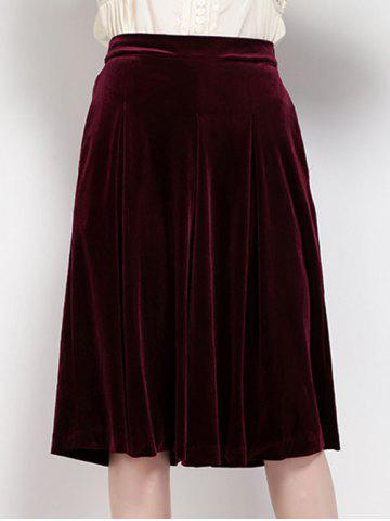 Affordable High Waist Pleated Velour Wide Leg Pants