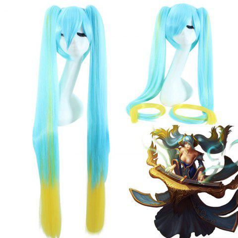 New League of Legends LOLSonaExtra Long With Bunches Blue Ombre Yellow Cosplay Wig