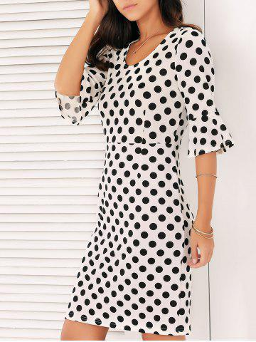 Latest Bell Sleeves Polka Dot Dress WHITE 2XL