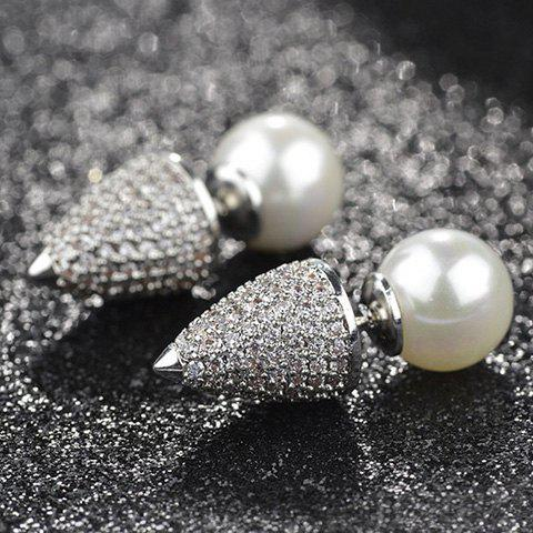 New Pair of Punk Style Faux Pearl Double-end Rhinestone Cone Earrings