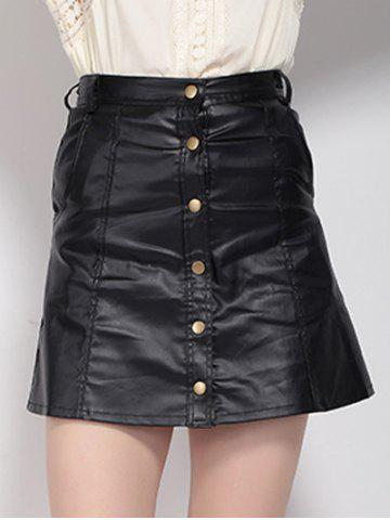 Store High Waist Buttoned Leather Skirt