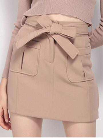 Buy High Waist Pocket Design Tied Skirt