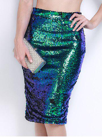 Affordable High Waist Sequined Bodycon Sequin Pencil Skirt GREEN XL