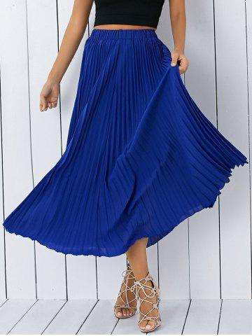 Shops High Waisted Pleated Chiffon Tea Length Skirt