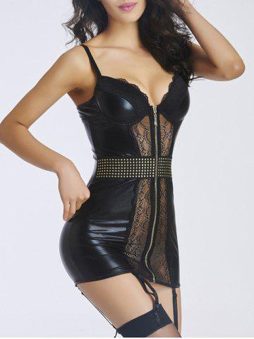 Fancy See-Through Rivet Laciness Babydoll - L BLACK Mobile