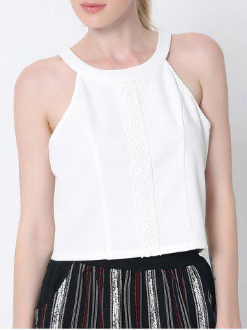 Sale Stylish Back Cut Out Lace Spliced Tank Top
