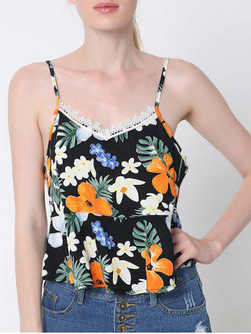 Fancy Stylish Back Slit Lace Trim Tropical Print Tank Top