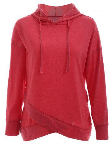 Fancy Trendy Long Sleeve Pure Color Slant Spliced Hoodie