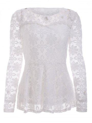 Hot Trendy Long Sleeve Floral Embroidered White Lace Blouse