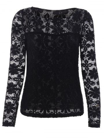 Outfit Trendy Long Sleeve Floral Embroidered Translucent Lace Blouse BLACK 5XL