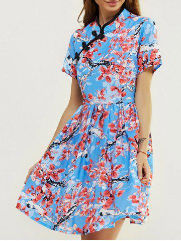 Cheap Ladylike Mandarin Collar Flower Print Fit and Flare Dress
