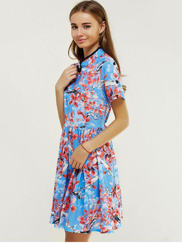 10 Off Ladylike Mandarin Collar Flower Print Fit And