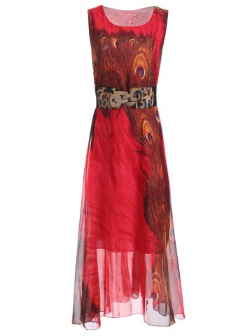 Online Sleeveless Peacock Feather Print Chiffon Maxi Dress With Belt